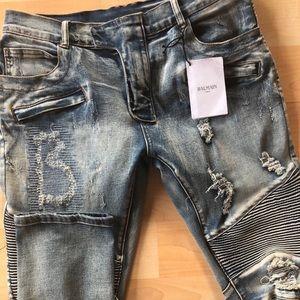 Balmain Slim Fit Distressed Moto Jeans